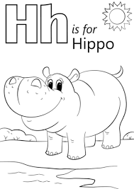 Small Picture Letter H is for Hippopotamus coloring page Free Printable