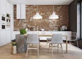 Interior Decoration:Minimalist Modern Style Kitchen With Red Brick Wall  Elegant Steel Countertop Open Plan