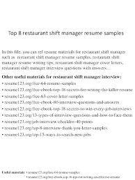 Example Server Resume Extraordinary Restaurant Resume Samples Example Of Restaurant Resume Samples