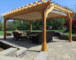 outdoor wood patio ideas. Picturesque Cedar Wood Patio Cover For Square Pergola Plans With Light Brown Canvas Canopy Also Vintage Outdoor Rattan Furniture Above Concrete Block Pavers Ideas O