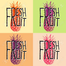 Fresh Fruit Pineapple Quotes Vector Illustration