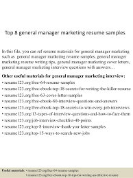 General Resume Samples Top 8 General Manager Marketing Resume Samples