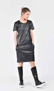 mini elegant faux leather dress a03508