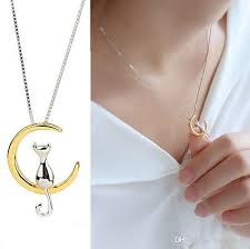 fashion cat moon pendant necklace charm silver gold color link chain necklace for pet lucky jewelry for women gift shellhard canada 2018 from hongyun99