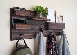 Midnight Woodworks Original Entryway Organizer Wall Mounted Solid Wood  Storage Ledges Mail Pocket Key Rack Coat