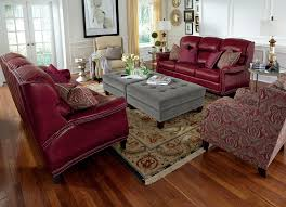fabric ottoman decor living room ideas features polished solid wood floor and red leather sofa set