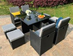 8 seater rattan cube dining set garden