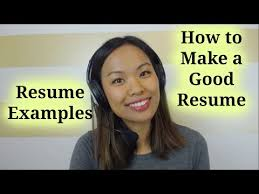 Resume Examples & Template – How To Make A Good Resume - Youtube