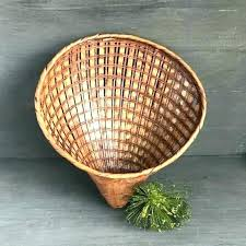 wicker wall decor vintage pocket basket woven shell rattan palisades large wov