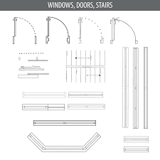 floor plan furniture set of linear icons for interior top view plans furniture and elements for