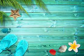 summer background summer background palm trees flip flops and sea shells stock photo
