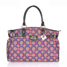 Coach Logo In Monogram Large Pink Blue Satchels ESM