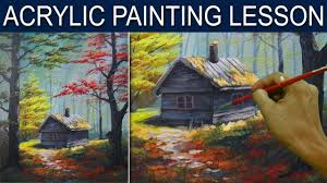 acrylic landscape painting tutorial the cabin in the autumn woods by jm lisondra