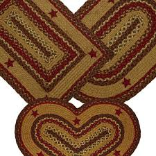braided rug cinnamon star jute country primitive ihf