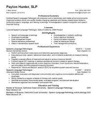 Slp Resume Examples Adorable Speech Language Pathology Resume Beautiful Speech Pathology Resume