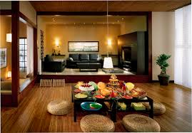 ... Small Spaces Video Living room, Japanese Style Low Wooden Dining Table  And Rattan Seating Also Pendant Lamp Medium ...