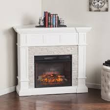 home marketplace merrimack corner convertible infrared electric fireplace white with white faux stone