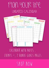 Forever Calendar Template Printable Undated Planner Insert And 2018 Goals Planner Printables