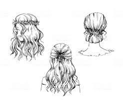 手描きのヘアスタイルベクター スケッチのセットですファッション