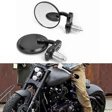 motorcycle black 3 round 7 8 handle bar end mirrors cafe racer