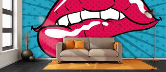 home pop art wallpaper for walls lips sample  on mural wall artist with mural interior design by roberta krabbenklaue