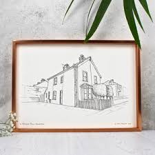 Personalised House Portrait Line Drawings   Housewarming Gifts