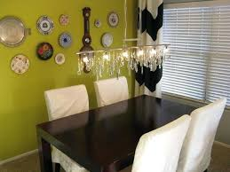 linear chandelier dining room vintage crystal linear chandelier with plate wall eclectic dining room what size