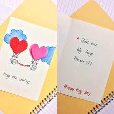 Handmade Birthday Card Designs For Husband Hug Day Card Valentine Day Weekly Cards Making Diy Crafts