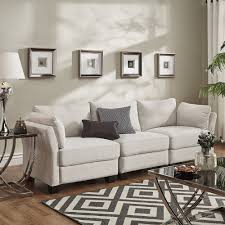 Elize Modern Linen Fabric Sofa by Inspire Q (White Linen Sofa)  Suzy q,  better decorating ...