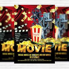 Movie Night Flyers Movie Night Premium Flyer Template Facebook Cover