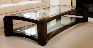 rectangular glass top coffee table with dark wooden legs also bottom in for design 11