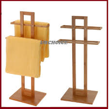 Kitchen Towel Rack Bathroom Bamboo Wooden Wood 2 Tier Towel Rack Rail Holder Stand
