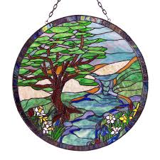 landscape stained glass panel