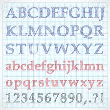 Hand Drawn Fonts On Graph Paper Royalty Free Stock Image