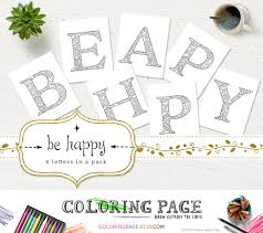 Sale Coloring Pages Be Happy Printable Alphabets Coloring Etsy