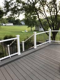 Grey Composite Decking Designs Winchester And Pebble Grey Trex Deck Patio Deck Designs