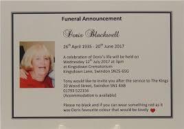 Memorial Announcement Cards Personalised Funeral Announcement Notification Bereavement Cards