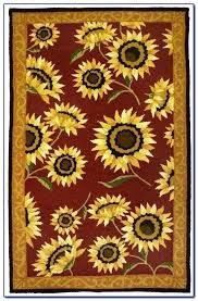 sunflower kitchen floor mats rug area western country yellow delicate mat 5 x 7 hooking sunflower kitchen