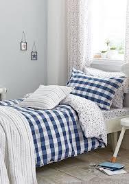 little bianca gingham and stars cotton duvet set blue