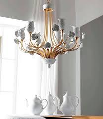 classic chandelier metal porcelain handmade orchidea