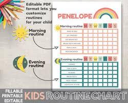 Kids Routine Chart Editable Printable Fillable Adobe Pdf Rainbow Routine Chart Morning Routine Bedtime Routine Printable Pdf