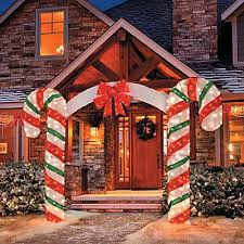 Candy Cane House Decorations Large Candy Cane Bow Arch Clear Lights Stake Christmas Yard 44