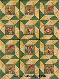Southwestern Western Wild Horses Stallions Colts Fabric Easy Pre ... & Bucks Does Fawns Deer Wildlife Fabric Easy Pre-Cut Quilt Blocks Top Kit Adamdwight.com