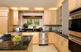 above cabinet lighting. Creative Lighting Options For Above Cabinet Decoration With Black Granite Countertops Colors And Small Windows Using Elegant Curtains