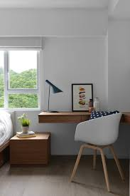 mandy small scandinavian home office idea in hong kong with white walls medium tone hardwood floors built in desks for home office