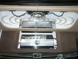 Todd's extremely clean trunk, Orion amplifiers behind etched plexiglass