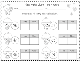 Winter themed place value handouts, tens and ones. First grade ...
