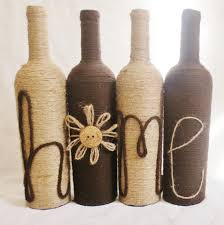 Home Decor With Wine Bottles FREE SHIPPING Yarn and Twine Wrapped Wine Bottles Home Decor Set 44