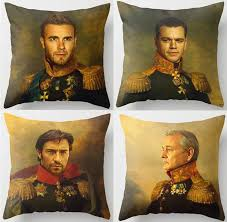 celebrities replace face paintings army generals cushion covers bill murray brad pitt pillow cover sofa linen cotton pillowcase in cushion cover from home