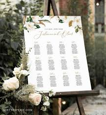 Magnolia Seating Chart Template Wedding Seating Sign Alphabetical Table Number Order 100 Editable Text Instant Download 015 241sc